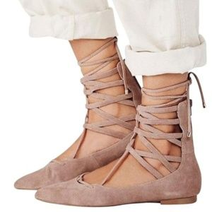 Free People Jeffrey Campbell Suede Lace Up Flat